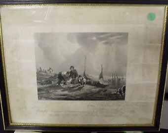 Antique Victorian Engraving - The Fisherman 1835 - by William Collier 1830