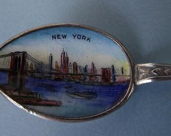 Vintage Stirling Silver & Enamel Souvenir Spoon of New York - enamelled in the bowl and on the terminal