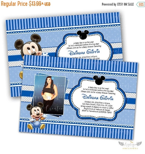 ON SALE Baby Mickey Baby Shower Invitations & Blank Thank You Card to match