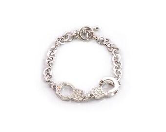 Rhinestone Handcuff Bracelet