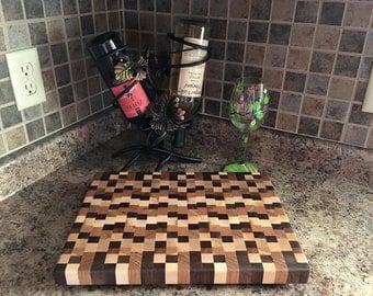 Handmade End Grain Multi Color Butcher Block Wood Cutting Board