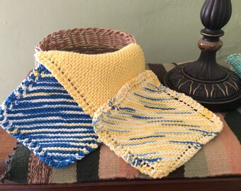 Set of 3 Cotton Knit Dishcloths in Yellow, Blue and white