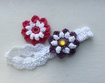 Toddler Girl's Lacey Crocheted Cotton Headband with Interchangeable Flowers
