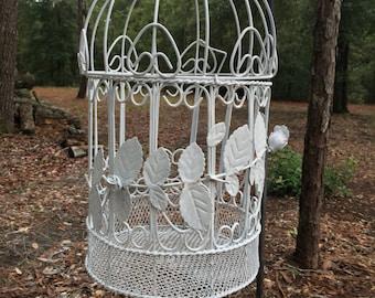 White wire bird cage