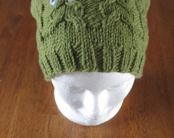 Ready to Ship Owl Hat, Knit Owl Hat, Green Owl Hat, Womens Owl Hat, Womens Beanie, Fall Hat, Winter Hat, Green Fall Hat, Green Winter Hat