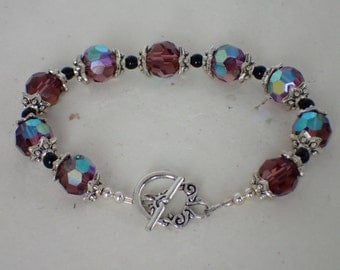 Purple Crystal Antique Silver Beaded Bracelet