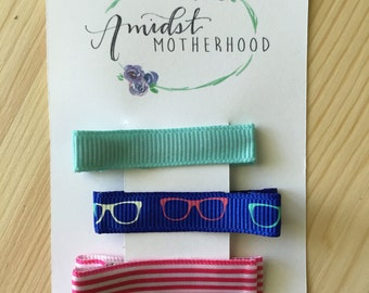 No Slip Alligator Hair Clip Set - Baby, Toddler, Girl - Mint, Sunglasses, Pink Satin Stripes
