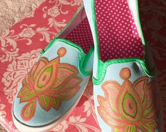 Lotus design hand painted shoes