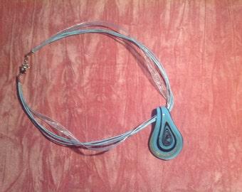 Turquoise Blue Glass Pendant/ Glass Pendant/Blue Glass Pendant/Pendant.