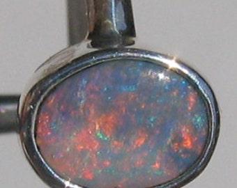 Sterling silver SOLID Lightning Ridge opal ring Australian opal from Queensland G83