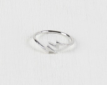 Lightning bolt open ended ring - silver