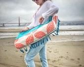 Yoga Mat Bag, Handmade Yoga Bag, Coral Tote Bag, Bag with Tassels, Bohemian Style, Beach Style