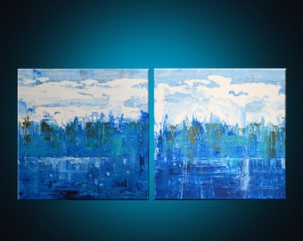 ORIGINAL 12inx12in (30cmx30cm)Canvas, Abstract Acrylic Painting, Set of two