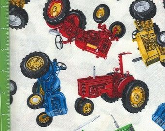 Tractors of many kinds, colors , Timeless Treasures