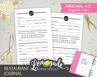 Restaurant Planner Inserts Restaurant Journal Printable Personal Insert Restaurant notes Personal planner inserts Filofax kikki k Medium