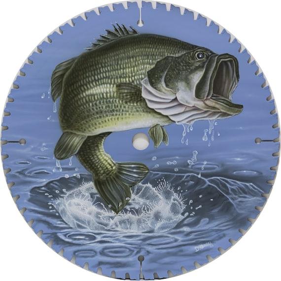Saw Blade Art Largemouth Bass Fish Wildlife Fishing Jump Swim
