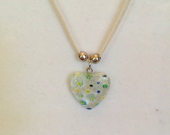 Nuetral Heart Charm Necklace