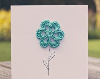 Crochet Blue Flower Card