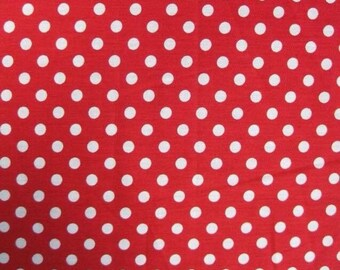 Red and white polkadot 100% cotton fabric - sewing supplies