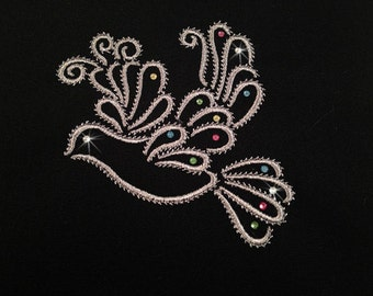 Doves Flight with Swarovsky crystals option  ( 10 Machine Embroidery Designs from ATW )