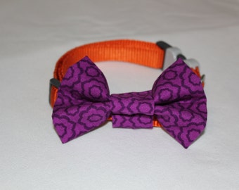 Purple Abstract Dog Bowtie
