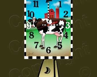 Cow Clock with Swinging Cowbell Pendulum • Dairy Cow Clock • Farm Clock • Urban Farmer