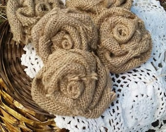 Burlap Rose Set of 5