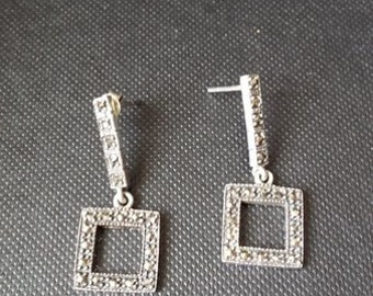 Vintage Earrings with gorgeous marcasite face
