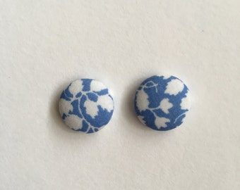 15mm Fabric Studs • Blue Vine • Surgical Steel • fabric stud earrings • button studs • button earrings
