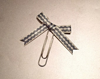 Cream & Light Blue Patterned Paperclip Planner clip