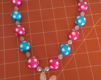 Little girls easter bunny necklace