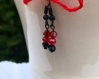 3 of Hearts ~ Swarovski and glass pearl drop earrings