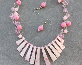 Pink shell necklace and earrings set