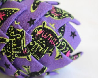 Broomsticks & Spells Fabric Quilted Halloween Ornament