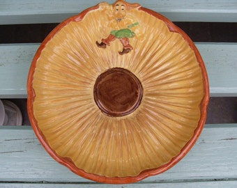 Vintage Art Deco Majolica Sunflower and Gnome plate Burleigh Ware Burgess & Leigh