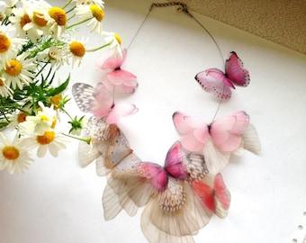Fluttery Necklace with Silk Butterflies