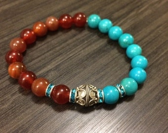 Beautiful Authentic Turquoise and Carnelian,Red Agate Beaded Bracelet with Sterling Silver Bali Bead 10mm