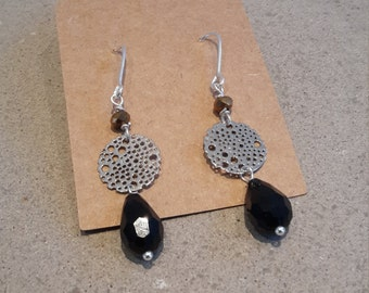 Sterling silver earrings with black stone