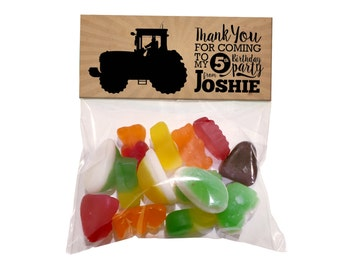 Kids Birthday Printed TRACTOR Plastic Party Bags with Card Topper. Matching invitations available.