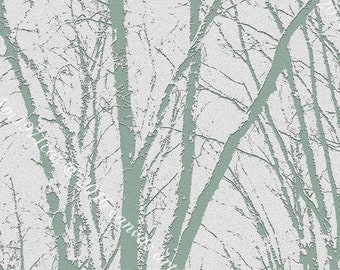 White and Mint Tree Branch Motif