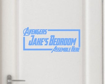 Avengers Assemble Here Childrens Door Sign Wall Decal