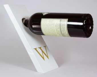 Lacquer Wood Balancing Wine Bottle Holder - White with Engraved  Monogram - Personalized Gravity Defying Wine Stand