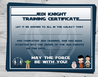 jedi knight certificate template - starwars jedi knight certificate jedi training camp