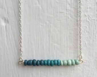 Ombre Blue Beaded Bar Necklace