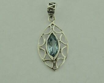 Blue Quartz in sterling silver pendant
