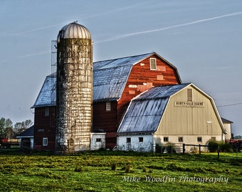 Barn Dairy Photograph Photo DIGITAL HDR Northwest PA Wall Art Poster Fine Art Rural Pennsylvania Rustic Backroad Color Silo Contrast