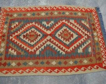 5'1 x 3'5 Feet Stunning Handmade Vintage Chobi Kilim Rug Rugs Rugby Nomadic Kilim Turkish Kilim