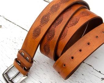 Men's Leather Belt, Saddle Tan, Antiqued, Ethno design stamped, Top quality vegetable tanned leather