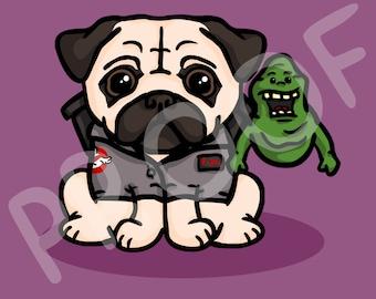 Novelty TV and Film Pug Digital Art - Gift for Pug / Film Lovers (Download)