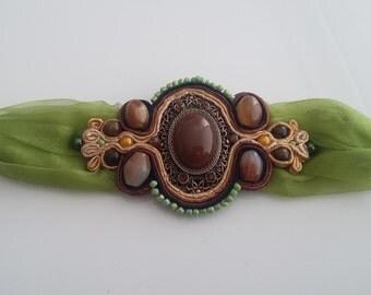 JUST GREEN - Soutache bracelet